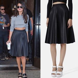 Faux-Leather Pleated A-Line Skirt - Macy's